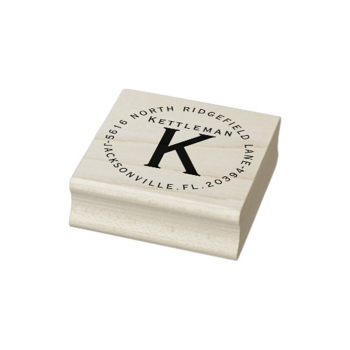 Monogram with Name and Address Rubber Stamp