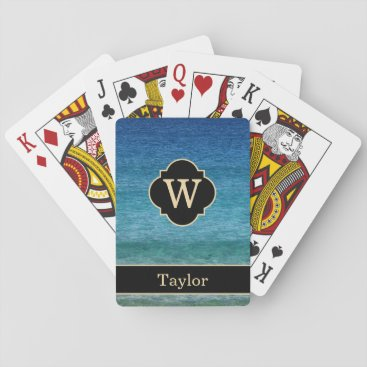 Beach Themed Monogram with Name Calm Ocean Playing Cards