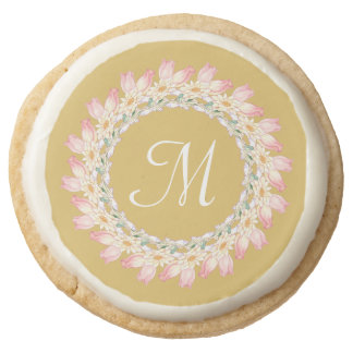Monogram with Pink Roses and Water Lilies Frame Round Premium Shortbread Cookie