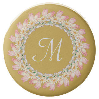 Monogram with Pink Roses and Water Lilies Frame Chocolate Dipped Oreo