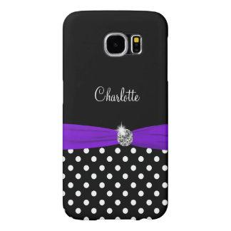 Monogram With Purple Bow Samsung Galaxy S6 Case