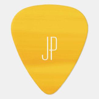 Monogram with soft shades of golden orange stripes guitar pick