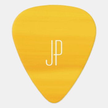 Monogram With Soft Shades Of Golden Orange Stripes Guitar Pick by Thunes at Zazzle