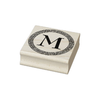 Monogram With Thick Ornate Decorative Border Rubber Stamp