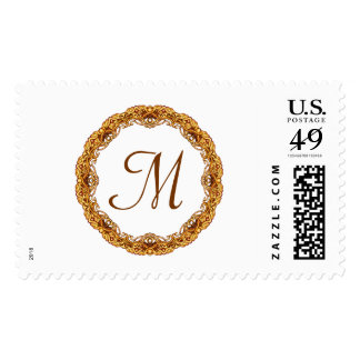 Monogram with Two Tone Gold Frame Postage