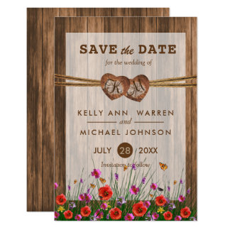 Monogram Wood Hearts with Wildflowers Card