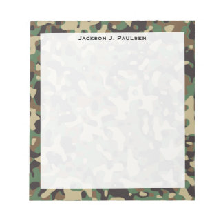 Monogram Woodland Tan Brown Green Gray Camouflage Notepad