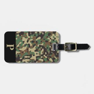 Monogram Woodland Tan Green Camo Camouflage Black Bag Tag