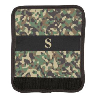 Monogram Woodland Tan Green Camo Camouflage Black Luggage Handle Wrap