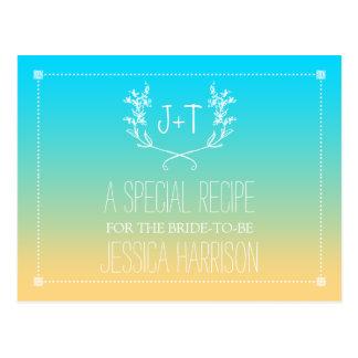 Monogram Wreath Beach Ombre Bridal Shower Recipe Postcard