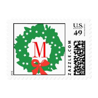 Monogram Wreath Bow Christmas Postage Stamp