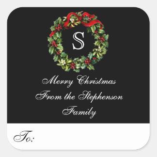 Monogram Wreath Custom Christmas Gift Tag Label Square Sticker