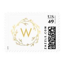 Monogram Wreath Editable Color Holiday Stamp