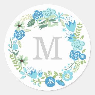 Monogram Wreath | Envelope Seal Classic Round Sticker