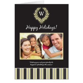Monogram Wreath Family Holiday Card black