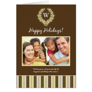 Monogram Wreath Family Holiday Card brown