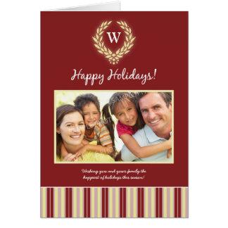 Monogram Wreath Family Holiday Card maroon