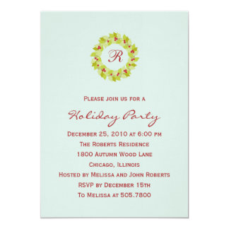 "Monogram Wreath Holiday Party Invitations 5"" X 7"" Invitation Card"