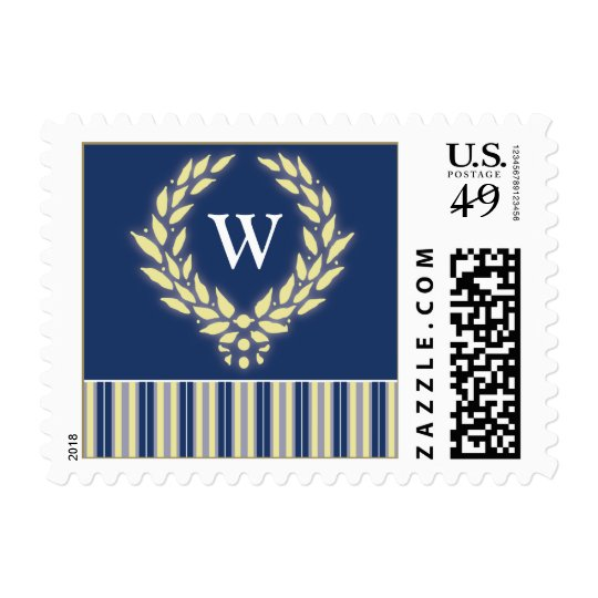 Monogram Wreath Holiday Postage (navy)