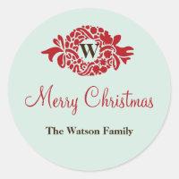 Monogram wreath mint Christmas holiday gift tag
