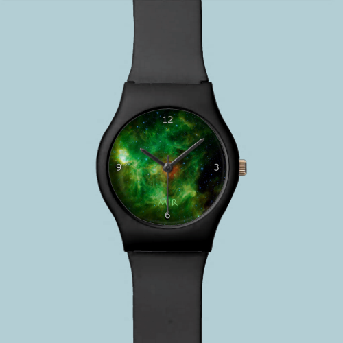 Monogram, Wreath Nebula, outer space picture Wristwatch
