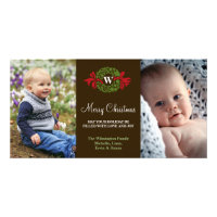 Monogram wreath red green merry Christmas greeting Card