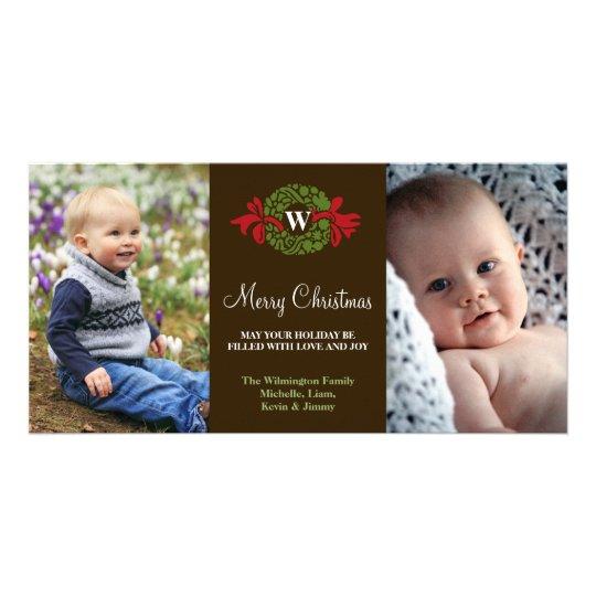 Monogram wreath red green merry Christmas greeting Card