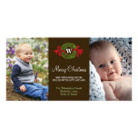 Monogram wreath red green merry Christmas greeting Photo Card