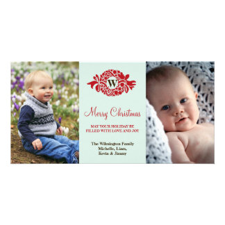 Monogram wreath red mint merry Christmas greeting Card