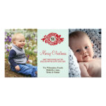 Monogram wreath red mint merry Christmas greeting Photo Card
