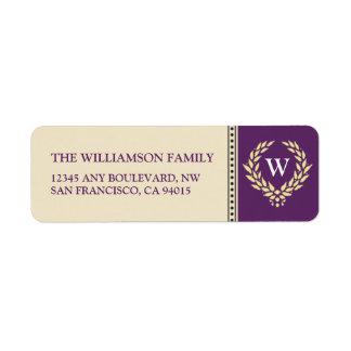 Monogram Wreath Return Address Labels purple