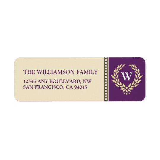 Monogram Wreath Return Address Labels (purple)