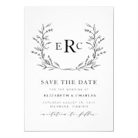 Monogram Wreath Save the Date Card