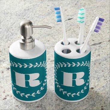 monogram_bouquet Monogram Wreath Soap Dispenser And Toothbrush Holder