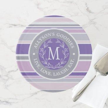 Wedding Themed Monogram Wreath Trendy Stripes Purple Laurel Leaf Cake Stand