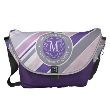 Wedding Themed Monogram Wreath Trendy Stripes Purple Laurel Leaf Courier Bag