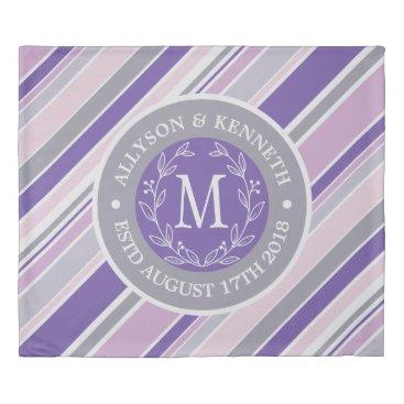 Wedding Themed Monogram Wreath Trendy Stripes Purple Laurel Leaf Duvet Cover