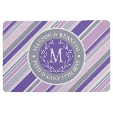 Wedding Themed Monogram Wreath Trendy Stripes Purple Laurel Leaf Floor Mat