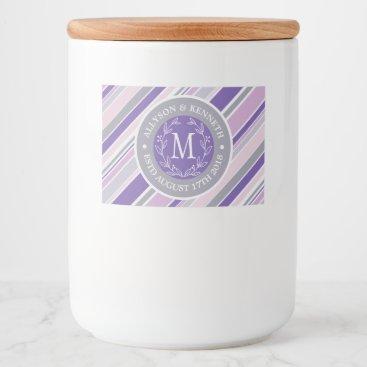 Wedding Themed Monogram Wreath Trendy Stripes Purple Laurel Leaf Food Label