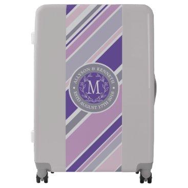 Wedding Themed Monogram Wreath Trendy Stripes Purple Laurel Leaf Luggage