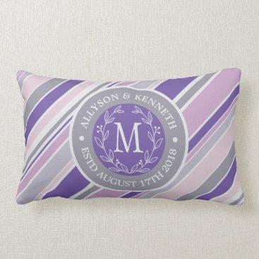 Wedding Themed Monogram Wreath Trendy Stripes Purple Laurel Leaf Lumbar Pillow