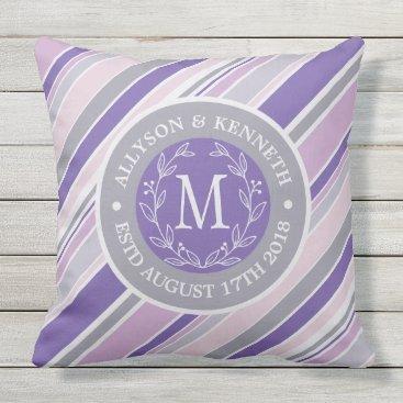 Wedding Themed Monogram Wreath Trendy Stripes Purple Laurel Leaf Outdoor Pillow