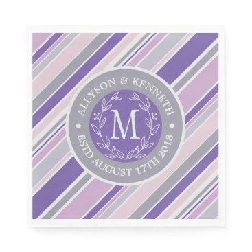 Wedding Themed Monogram Wreath Trendy Stripes Purple Laurel Leaf Paper Napkin