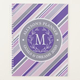 Monogram Wreath Trendy Stripes Purple Laurel Leaf Planner