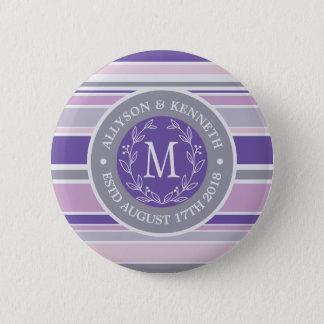 Monogram Wreath Trendy Stripes Purple Leaf Laurel Pinback Button