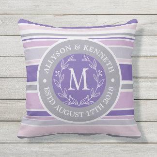 Monogram Wreath Trendy Stripes Purple Leaf Laurel Throw Pillow