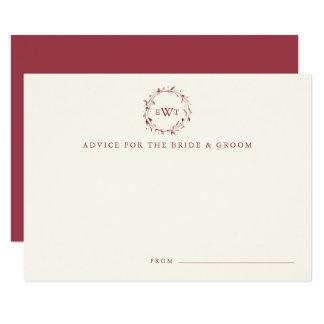 Monogram Wreath Wedding Advice Cards | Marsala