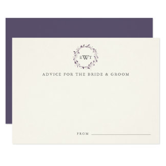 Monogram Wreath Wedding Advice Cards | Plum
