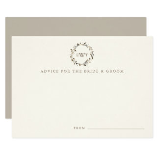 Monogram Wreath Wedding Advice Cards | Twig