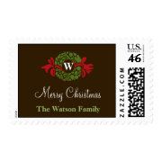 Monogram wreath wedding christmas holiday postage